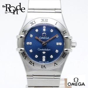 オメガ OMEGA レディース時計 コンステレーションミニ シンディクロフォード ステンレス/16Pダイヤ 青 中古|ronde