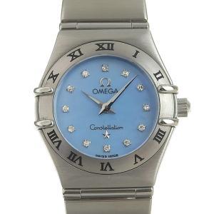 オメガ OMEGA コンステレーションミニ レディース クォーツ 腕時計 SS 12Pダイヤ ブルーシェル文字盤 1562.85 中古 新入荷 OW0237|ronde