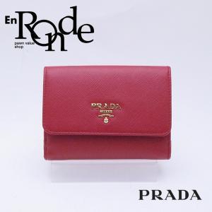 プラダ 二つ折財布 Wホック財布 1MH523 サフィアーノ ロッソ/ベゴニア 中古 新入荷 おすすめ|ronde
