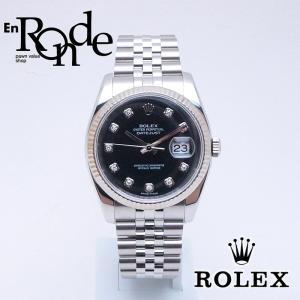 ロレックス ROLEX メンズ腕時計 デイトジャスト 116234G SS/WG/ダイヤ入り 黒文字盤 中古 新入荷 おすすめ 新着|ronde