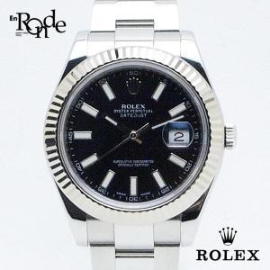 ロレックス ROLEX メンズ時計 デイトジャスト 116334 ステンレス 黒文字盤 中古|ronde