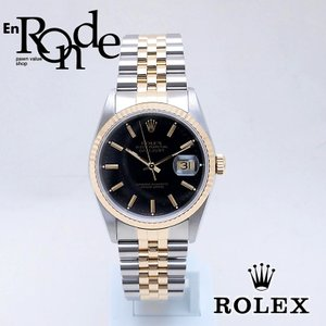 ロレックス ROLEX メンズ腕時計 デイトジャスト 16233 SS/YG ブラック文字盤 中古 新入荷 おすすめ RO0182 新着|ronde
