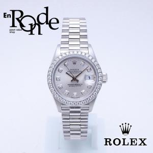 ロレックス ROLEX レディース腕時計 デイトジャスト 69136G Pt/ダイヤ10PD シルバー文字盤 中古 新入荷 新着|ronde