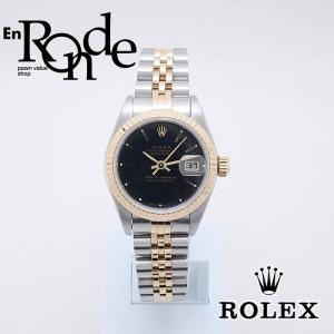 ロレックス ROLEX レディース腕時計 デイトジャスト 69173 SS/YG ブラック文字盤 中古 新入荷 おすすめ RO0178 新着|ronde