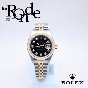 ロレックス ROLEX レディース腕時計 デイトジャスト 69173G SS/YG/10PD ブラック文字盤 中古 新入荷 おすすめ RO0181 新着|ronde
