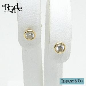 ティファニー Tiffany ピアスイヤリング バイザヤード ピアス K18YG/ダイヤモンド入り ゴールド色 中古 人気商品|ronde
