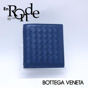 ボッテガヴェネタ  二つ折財布 二つ折り札入れ レザー/イントレチャート ブルー 中古 新入荷 おすすめ 新着|ronde