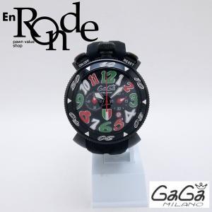 ガガミラノ メンズ腕時計 クロノ48mm SS/ラバー ブラック文字盤 中古 新入荷 おすすめ OW0224 新着 ronde