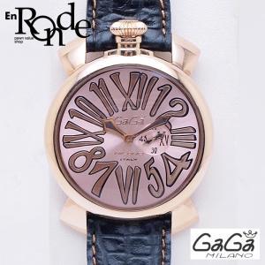 ガガミラノ メンズ腕時計 マヌアーレ スリム46mm 5085-02 PGP/革 ピンクゴールド文字盤 中古 新入荷 おすすめ 新着|ronde