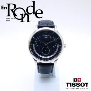 ティソ メンズ腕時計 トラディション T063637A SS/革 ブラック文字盤 中古 新入荷 おすすめ OW0227 新着|ronde
