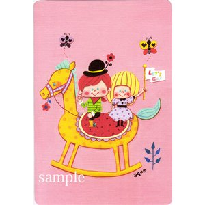 ポストカード「Let's Go!」 木馬 男の子 女の子 可愛い はがき カード|room505