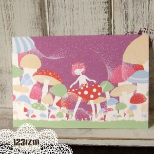 ポストカード「きのこの胞子」 森 女の子 妖精 可愛い はがき カード|room505