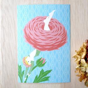 ポストカード「ラナンキュラス嬢」 妖精 女の子 花びら 可愛い はがき カード|room505