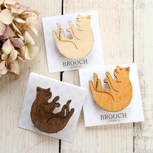 ブローチ 木製 猫 ねこ 木のブローチ|room505