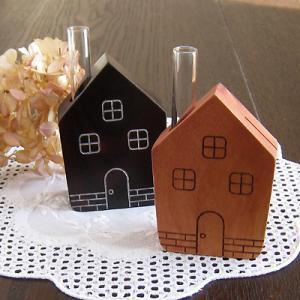 一輪挿し 家型 カードスタンド 天然木 可愛い 花瓶|room505