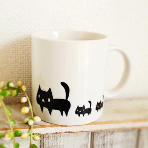 マグカップ 黒ネコ 白 猫 可愛い モノトーン ねこ|room505