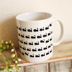 マグカップ 黒ネコたくさん 白 猫 可愛い モノトーン ねこ|room505