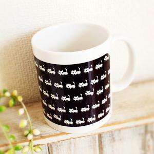 マグカップ 白ネコたくさん 黒 猫 可愛い モノトーン ねこ|room505