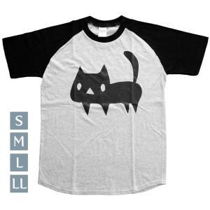ラグランTシャツ 猫 杢グレー×ブラック S〜LL 黒ネコ Printstar 5.6オンス ヘビーウェイト room505