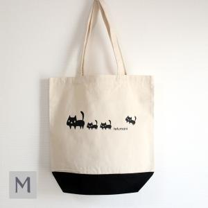 トートバッグ 黒ネコ親子 Mサイズ レギュラーキャンバス ねこ 猫 room505