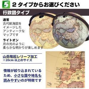 地球儀 しゃべる  地球儀 時計&オルゴール付き 光る 回る ライト付き AR アプリ 直径13cm 日本語 英語 地勢図/行政 2タイプ インテリア アンティーク 子供用|roombania|12