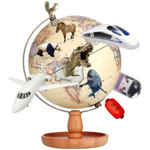 地球儀 しゃべる 地球儀 直径20cm 光る ライト AR アプリ  日本語 英語 地勢図/行政 インテリア アンティーク/リアルアース 子供 ランプ|roombania|02