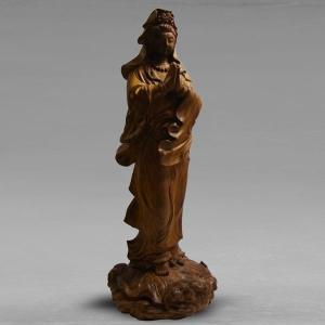 カードOK 仏像 観音菩薩立像 高さ23cm 職人による手作りの精巧な木像 工芸美術品 龍眼材|roomdesign