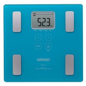 収納に便利なスリムデザイン オムロン (OMRON) 体重体組成計 カラダスキャン HBF-214-B ブルー|roomdesign