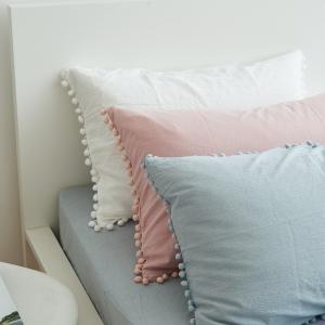 ふんわりカラー ポンポン付 コットン ピローケース 枕カバー roomfort