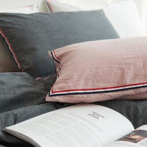 トリコロールライン シンプル コットン ピローケース 枕カバー roomfort