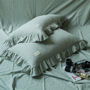 キレイカラー フリルデザイン シンプル可愛い コットン ピローケース 枕カバー 2枚セット roomfort