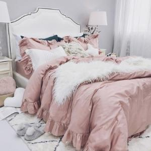 【SD/D/Q】ガーリーフリル シンプル コットン ベッドカバー 4点セット|roomfort