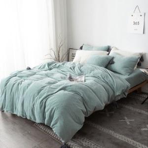 即納あり★【S】ふわふわワッフル フリンジ付 ベッドカバー 3点セット|roomfort