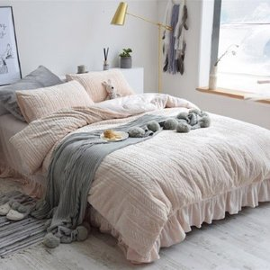 【SD/D/Q】 ケーブル編みニット風デザイン ふんわり ベッドカバー 4点セット|roomfort