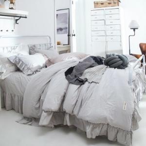 【SD/D/Q】カラー豊富☆シャビーシック フリルデザイン ニュアンスカラー コットン ベッドカバー 4点セット|roomfort