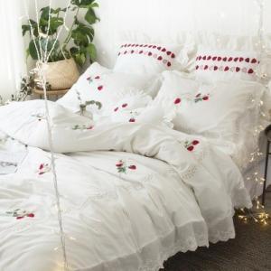 【SD/D/Q】さくらんぼ刺繍 レースフリル ロマンティック ベッドカバー 4点セット|roomfort