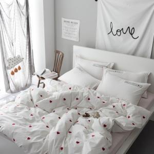 即納あり★【S】ストライプ柄シーツ かわいいハート刺繍 ベッドカバー 3点セット|roomfort