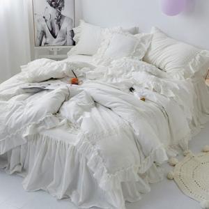 【SD/D/Q】たっぷりフリル ロマンティック レース刺繍 ロングベッドスカート ベッドカバー 4点セット|roomfort