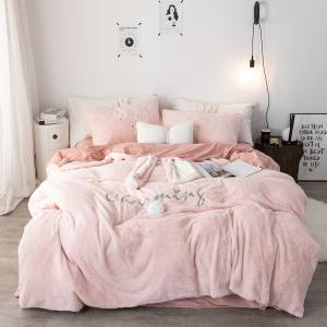 【SD/D/Q】Charming かわいいウサギモチーフ ふわふわフリース ベッドカバー 4点セット|roomfort