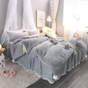 【SD/D/Q】ポンポン付 バイカラー ふんわりあったか ベッドスカート ベッドカバー 4点セット|roomfort