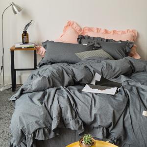 即納あり★【SD/D/Q】キレイカラー フリルデザイン シンプル可愛い コットン ベッドカバー 4点セット|roomfort