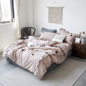 【SD/D/Q】もこもこタオル地 ハートモチーフ フリルデザイン ガーリー ベッドカバー4点セット|roomfort