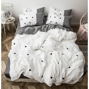 【SD/D】ハート刺繍×ギンガムチェック配色 シンプル 可愛い コットン ベッドカバー4点セット|roomfort