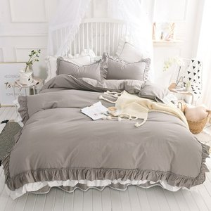 即納あり★【SD/D/Q】カラー豊富☆バイカラー ティアードフリル ロマンティック ベッドスカート ベッドカバー 4点セット|roomfort