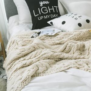 ナチュラルカラー ざっくり編みニットブランケット|roomfort