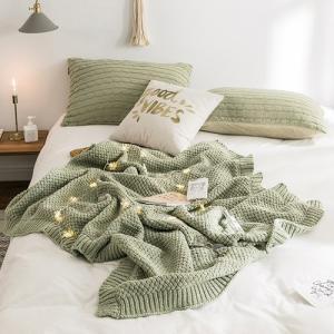 北欧風 くすみカラー やわらか素材 ニットブランケット|roomfort