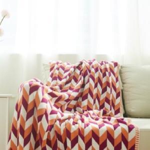 北欧風 マルチカラー 幾何学模様 コットン ニットブランケット|roomfort