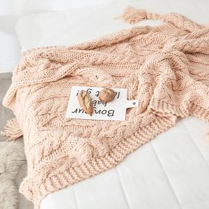 ビッグタッセル ざっくり編み ニットブランケット|roomfort