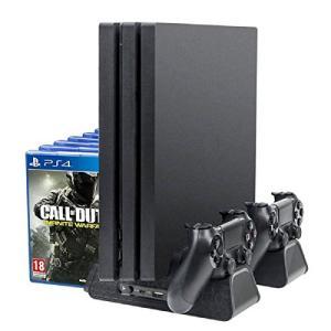 DOBE PS4 Pro 専用 縦置きスタンド PECHAM ファン付 置くだけ コントローラ充電ス...