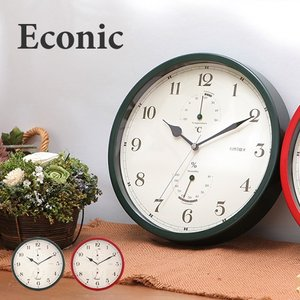 壁掛け時計 壁かけ時計 掛け時計 掛時計 かけ時計 アンティーク レトロ 温湿時計 デザイン時計 時計 Econic エコニック 温湿時計 壁掛け時計 送料無料|roomy
